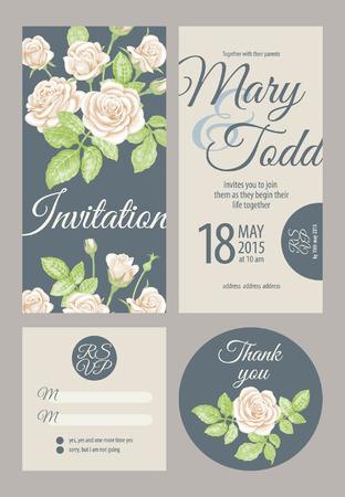 rsvp: Wedding card collection. Vector graphics depicting vintage Victorian roses. Invitation, thank you, rsvp. Illustration