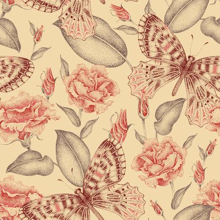 シームレス花柄。花と蝶。ビクトリア朝様式の花のイラスト。花と蝶のビンテージ飾り。ばら、柔らかな色彩でエキゾチックな蝶。  イラスト・ベクター素材