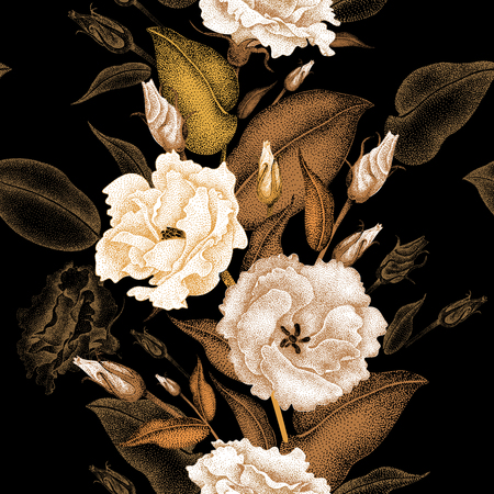 oriental season: Flowers roses on a black background. Vector seamless pattern. Floral design in oriental style. Vintage. Black white and gold. Beautiful flowers of roses gold foil printing.