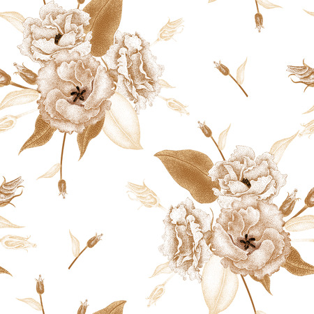 Flowers roses on a white background. Vector seamless pattern. Floral design in oriental style. Vintage. Black white and gold. Beautiful bouquets flowers roses gold foil printing. Reklamní fotografie - 55009259