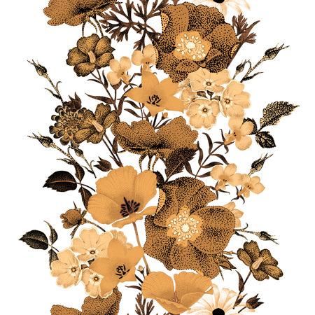 흰색 배경에 원활한 벡터 꽃 패턴 황금 꽃입니다. 정원 꽃 장미, bluebells입니다, 데이지, 앵초의 그림입니다. 동양 스타일의 꽃 조성물. 포도 수확. 일러스트