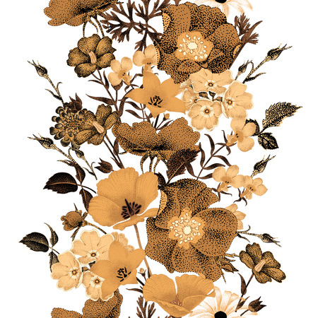 Seamless vector floral pattern golden flowers on a white background. Illustration of garden flowers roses, bluebells, daisies, primroses. Flower composition in the oriental style. Vintage. Vettoriali
