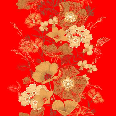 中国漆ミニチュアのスタイルで庭の花のシームレス パターン。赤の背景に金の花の色。ヴィンテージ。花 - オリエンタル スタイルのデザイン。花バ