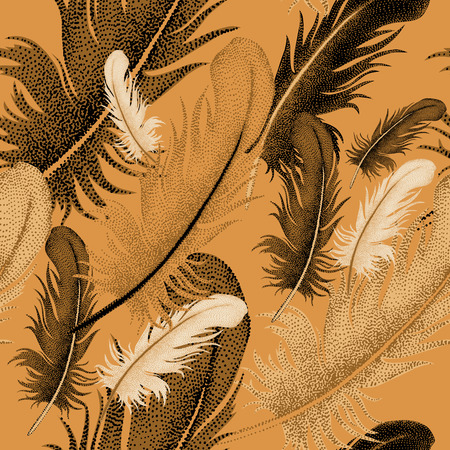 bird feathers: Seamless pattern of bird feathers. Decorative composition of bird feathers on a gold background. Design of natural motifs. Illustration of vector ornament bird feathers.