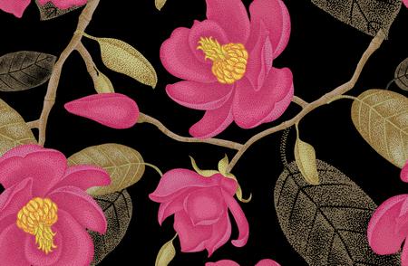 Patrón floral vector inconsútil Ilustración de estilo victoriano de magnolia. Decoración de lujo vintage magnolia. Serie de diseño floral de técnica única. Rama de árbol de magnolia con flores sobre fondo negro. Ilustración de vector