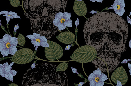 ivy: Human skulls and devils guts. Seamless vector pattern. Illustration of natural organic elements, skulls and flowers ivy on a black background.