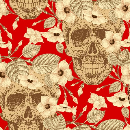 guts: Template pattern of human skulls and flowers seamless vector. Vintage. Human skulls and devils guts on a red background. Illustration of gold human skulls and plants. Designed on the theme of death.