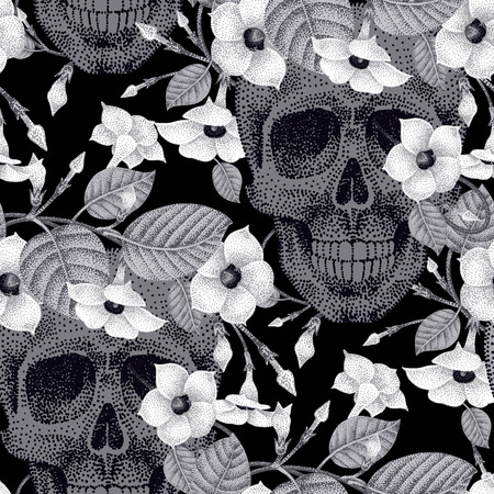 guts: Template pattern of human skulls and flowers seamless vector. Human skulls and devils guts plant black and white. Abstract illustration on the theme of death.