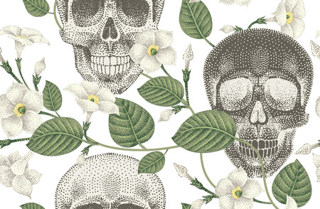 daemon: Human skulls and devils guts. Seamless vector pattern. Illustration of natural organic elements, skulls and flowers ivy on a white background.