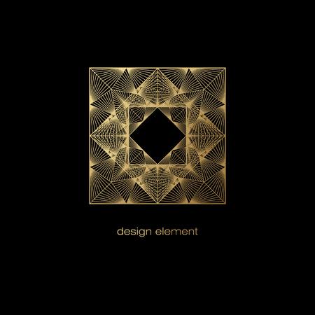 Vector elemento di design. Modello per la creazione di icona, simbolo, emblema, cornice monogramma. stile trend lineare. modello oro Illustrazione su sfondo nero. Concetto di insolito arredamento di lusso astratto.