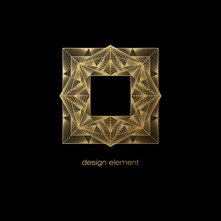 linearity: Vector design element. Template for creating icon, symbol, emblem, monogram frame. Linear trend style. Illustration gold pattern on black background. Concept of unusual abstract luxury decor. Illustration