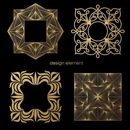 linearity: Set of vector design elements. Template for icon, symbol, emblem, monogram frame. Linear trend style. Illustration gold pattern on black background. Concept of unusual abstract luxury decor.