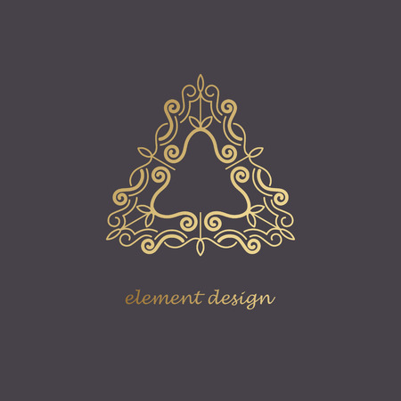 linearity: Vector design element. Template for creating logo, icon, symbol, emblem, monogram, frame. Linear trend style. Illustration gold pattern on black background. Concept of  unusual abstract luxury logo.