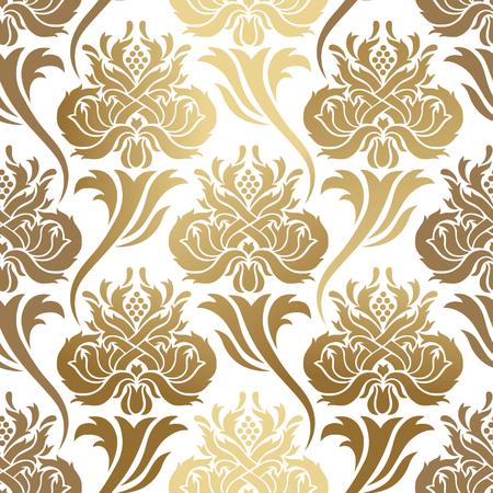 Bezszwowe wektor wzór. Abstrakcjonistyczna ilustracja z elementami ornamentu adamaszek, złocistej folii druk na białym tle.