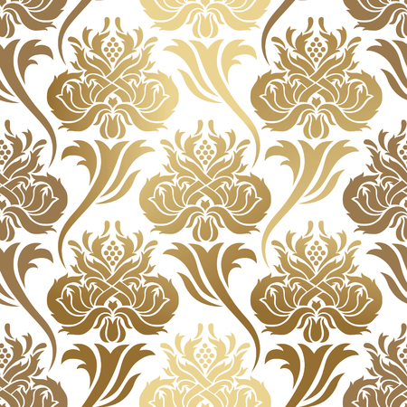 Seamless vector pattern. Abstract illustration, with elements of ornament damask, gold foil printing on a white background. Stock Illustratie