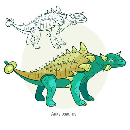 jurassic: Ankylosaurus. Ancient jurassic reptile, vector illustration cartoon prehistoric dinosaur isolated on white background. Full-color flat images animal and abstract linear.