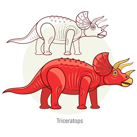 dinosaur: Triceratops. Ancient jurassic reptile, vector illustration cartoon prehistoric dinosaur isolated on white background. Full-color flat images animal and abstract linear.