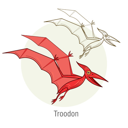 jurassic: Pterodactyl. Ancient jurassic reptile, vector illustration cartoon prehistoric dinosaur isolated on white background. Full-color flat images animal and abstract linear.