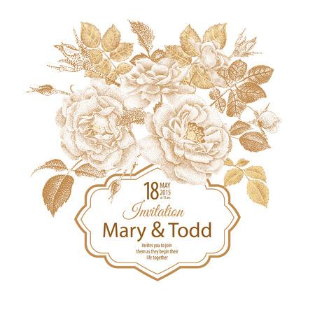 Tarjeta de la vendimia del vector con el marco para el texto y el ramo de flores rosas de jardín de estilo victoriano. imprimir la hoja de oro sobre un fondo blanco. Ilustración con motivos naturales.