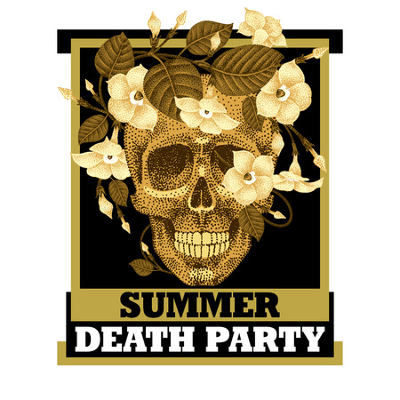 Dead head and inscription - Summer death party. Vector illustration of a human skull in a wreath of flowers.