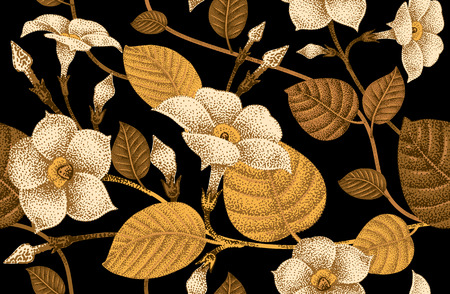 textile: Climbing plant ivy. Vector seamless floral pattern. Garden flower bindweed. Flower Illustration - template design luxury packaging, textile, paper. Golden branch, leaves, flowers on black background.