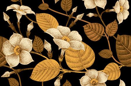 textil: Hiedra trepadora planta. Modelo floral incons�til del vector. Jard�n enredadera flor. Ejemplo de la flor - dise�o de envases de lujo plantilla, textil, del papel. Rama de oro, hojas, flores sobre fondo negro. Vectores