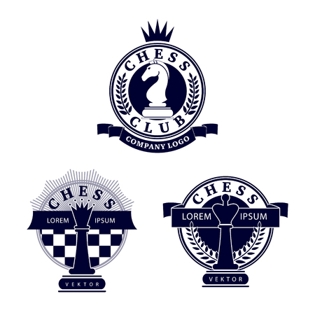 tourney: Set vector chess clubs version of logo. Design for decoration tournaments, sports cups, logos business cards. Black, white. Logo, emblems, badges - design chess events.