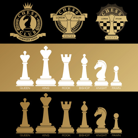tourney: Set vector icons of chess pieces and chess clubs version of logo. Design for decoration tournaments, sports cups, logo business cards. Black, white, gold. Logo, emblems, badges - design chess events.