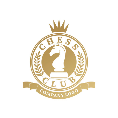 tourney: Vector chess clubs version of logo. Design for decoration tournaments, sports cups, logos business cards. Gold, white. Logo, emblems, badges - design chess events.
