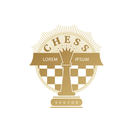 Vector chess clubs version of logo. Design for decoration tournaments, sports cups, logos business cards. Gold, white. Logo, emblems, badges - design chess events.