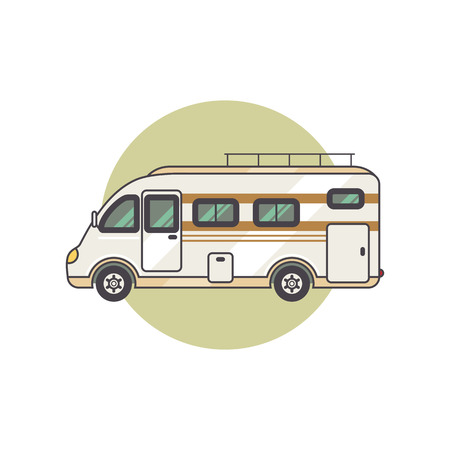 family isolated: Transport facility - caravan - family car for travel and recreation. Vector illustration motor home isolated on white background. Flat icon camping van. House on wheels for family tourist comfort. Illustration