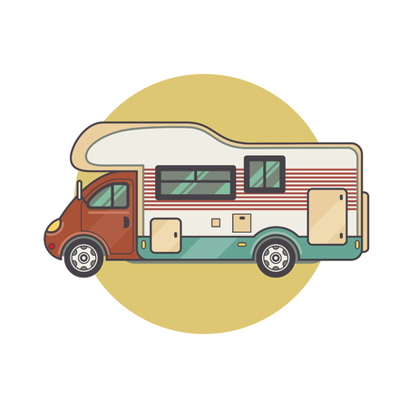 family van: Transport facility - caravan - family car for travel and recreation. Vector illustration motor home isolated on white background. Flat icon camping van. House on wheels for family tourist comfort. Illustration