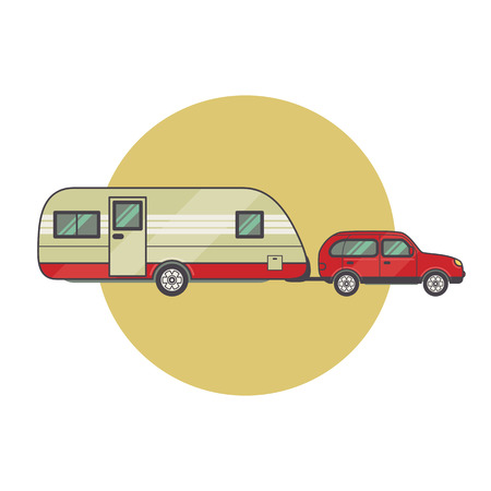 caravan: Transport facility - caravan - family car for travel and recreation. Vector illustration motor home isolated on white background. Flat icon camping van. House on wheels for family tourist comfort. Illustration