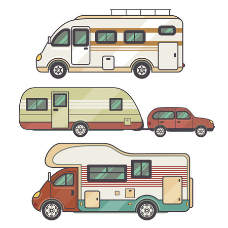 motor home: Set transport facility - caravan - family car for travel and recreation. Vector illustration motor home isolated on white background. Flat icon camping van. House on wheels for family tourist comfort.