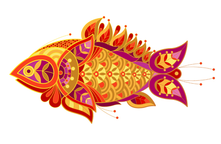 fish illustration: Fish. Vector decorative illustration fish isolated on white background. Patterned image of a fish.
