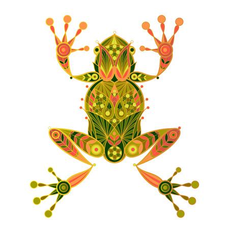 anuran: Frog. Vector decorative illustration frog isolated on white background. Ornamental frog image.