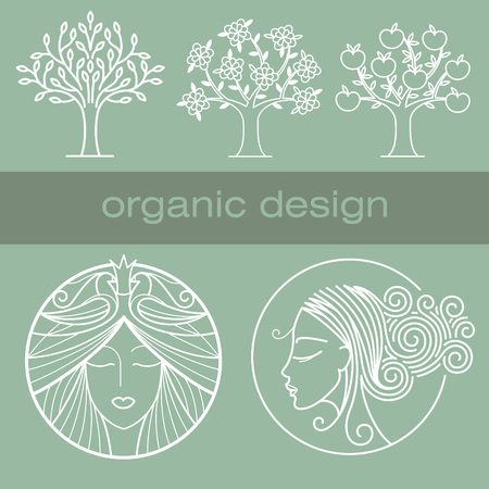 natural face: Vector illustration of various natural objects. Tree with leaves, flowers and fruits. Image of a girls head full face and profile. Unusual hairstyles with swirls. Natural colors.