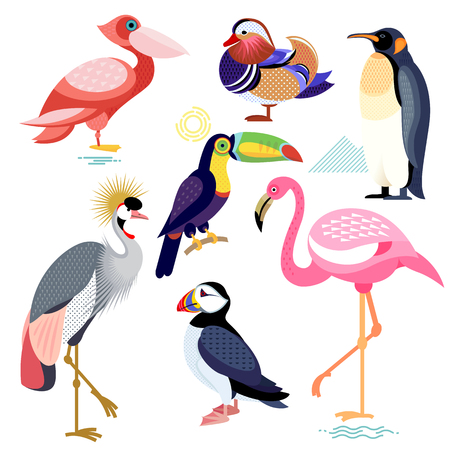 crowned: Birds puffin, mandarin duck, flamingos, toucan, pelican, penguin, Crowned Crane. Set of vector birds - flat icons. Illustration of birds isolated on white background.