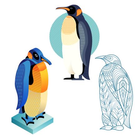 perspectiva lineal: pingüino pájaro. icono plana, plantilla para la coloración adulta, vista isométrica. Conjunto de aves de vectores en diferentes estilos de inusual. ejemplo de la colección de imágenes de aves aisladas sobre fondo blanco.