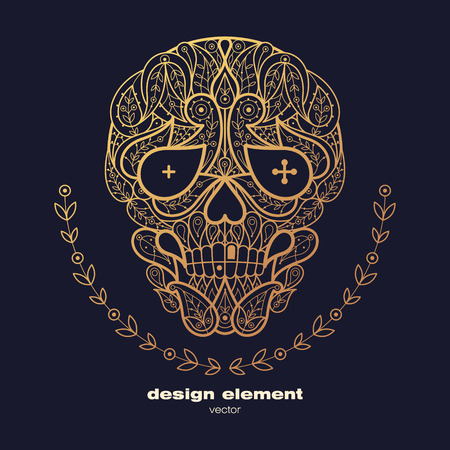 animal print: Vector design element - skull. Icon decorative skull isolated on black background. Modern decorative illustration. Template for creating logo, emblem, sign, poster. Concept of gold foil print.