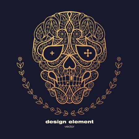 animal print: Vector elemento de diseño - cráneo. cráneo decorativo icono aislado sobre fondo negro. ilustración decorativa moderna. Plantilla para la creación de logotipo, emblema, muestra, cartel. Concepto de impresión lámina de oro.