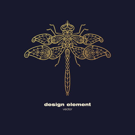 Vector design element - dragonfly. Icon decorative insect isolated on black background. Modern decorative illustration insect. Template for logo, emblem, sign, poster. Concept of gold foil print. Vettoriali