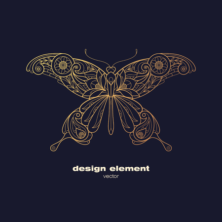 insect: Vector design element - butterfly. Icon decorative insect isolated on black background. Modern decorative illustration insect. Template for logo, emblem, sign, poster. Concept of gold foil print.