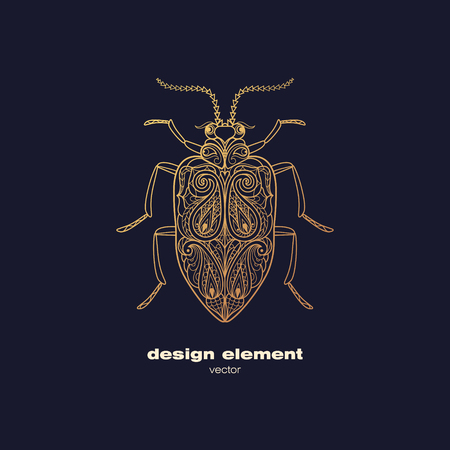 insect: Vector design element - beetle. Icon decorative insect isolated on black background. Modern decorative illustration insect. Template for logo, emblem, sign, poster. Concept of gold foil print.