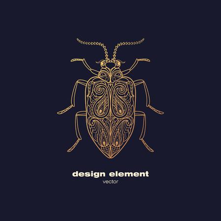 Vector Design-Element - Käfer. Icon dekorative Insekt auf schwarzem Hintergrund isoliert. Moderne dekorative Illustration Insekt. Vorlage für Logo, Emblem, Zeichen, Plakat. Konzept der Goldfoliendruck.
