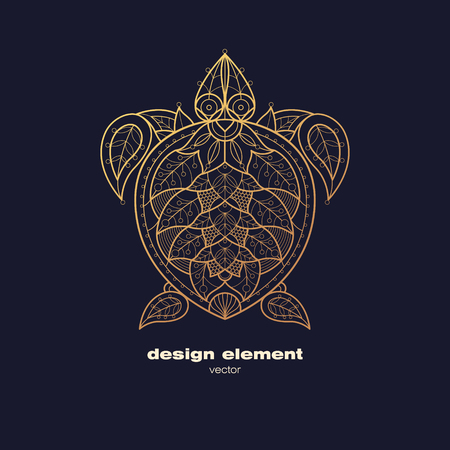 sea turtle: Vector design element - sea turtle. Icon decorative reptile isolated on black background. Modern decorative illustration animal. Template for logo, emblem, sign, poster. Concept of gold foil print.