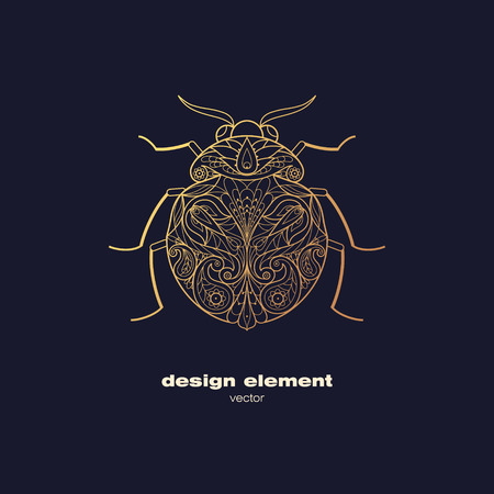 black sign: Vector design element - beetle. Icon decorative insect isolated on black background. Modern decorative illustration insect. Template for logo, emblem, sign, poster. Concept of gold foil print.