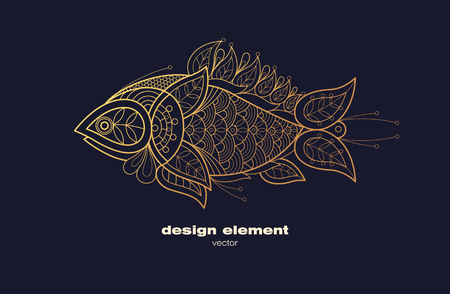 decorative fish: Vector design element. Icon decorative fish isolated on black background. Modern decorative illustration animal. Template for creating logo, emblem, sign, poster. Concept of gold foil print.