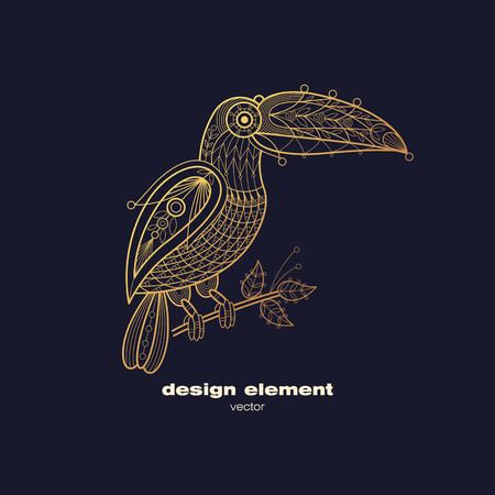 Vector design element - toucan. Icon decorative bird isolated on black background. Modern decorative illustration animal. Template for creating logo, emblem, sign, poster. Concept of gold foil print. Illustration