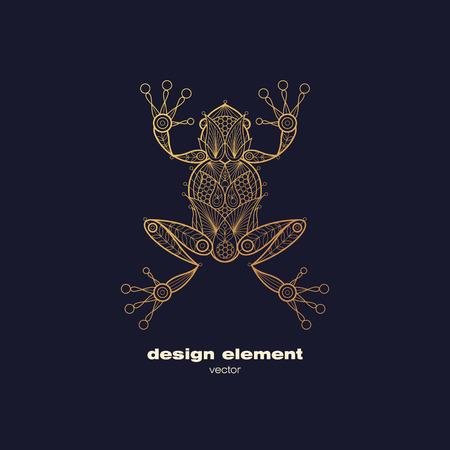 anuran: Vector design element - frog. Icon decorative amphibian isolated on black background. Modern decorative illustration animal. Template for logo, emblem, sign, poster. Concept of gold foil print.